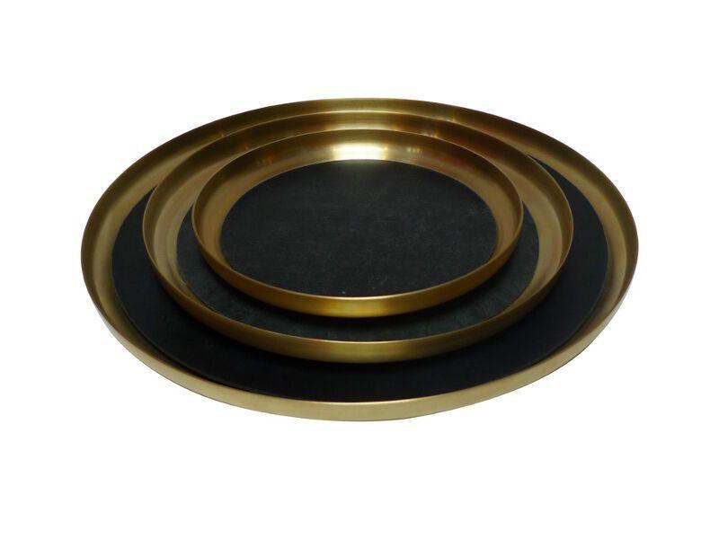 Michael Verheyden Michael Verheyden - 'Serve Brass' Medium Brass Serving Tray with Leather Mat - D30cm