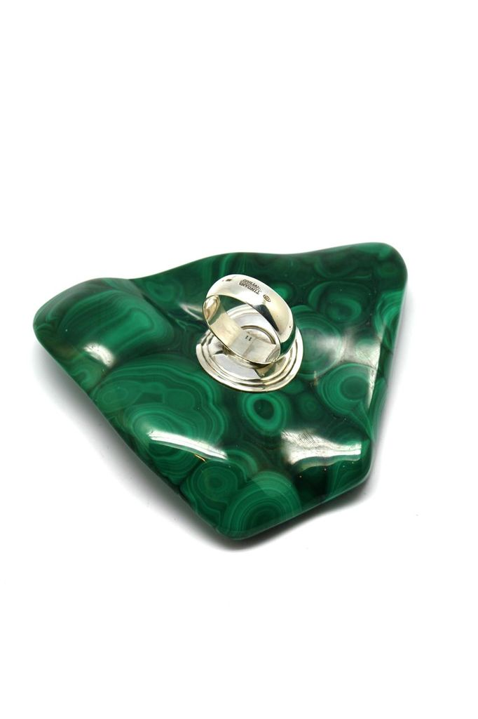 Giuliano Tincani Malachite Paperweight with Solid Silver 925 Ring - Made in Italy