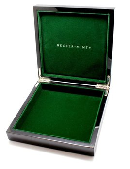 BECKER MINTY - Large Black Square Lacquer Box - Green velvet interior with metalic logo - black outerbox - 31x31x6.2cm