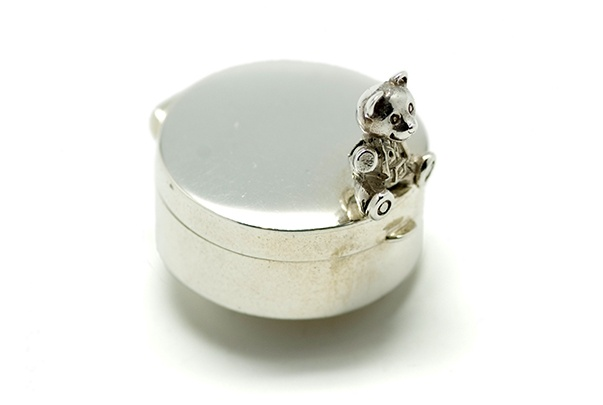 Corbell Silver English Sterling Silver Tooth Fairy or Pill Box - Teddy Bear Round Hinged Design