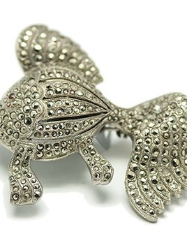 BECKER MINTY Vintage Sterling Silver and Marcasite Fish Brooch c.1940