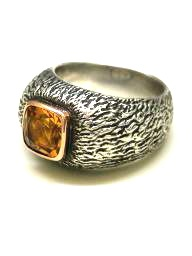 Richard Francis Burns - Owl ring - Sterling Silver - Citrine - Hand Made in Australia