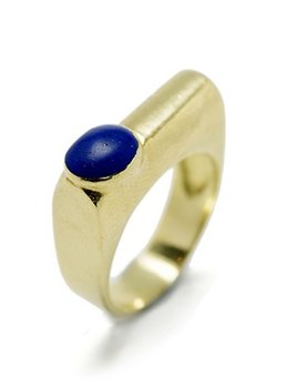 Eileen Kirkwood Vintage Lapis Dress Ring  - Cabachon cut -18ct Yellow Gold c1970 (Ring Size: N)