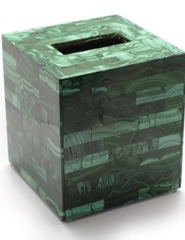 BECKER MINTY Exquisite Malachite Inlay Tissue Box Holder - Brick Pattern - 13.5 x 13.5 x 15cm