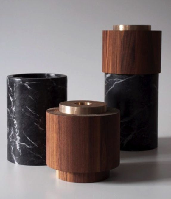 Michael Verheyden Michael Verheyden - vase in three pieces - create a vase for a single bloom, for a small bouquet or for long stems. Top in handfinished cast bronze, middle in walnut and base in Grigio Carnico marble. Diameter 17cm X H 34.5cm