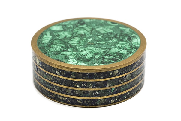 brothers antiques Malachite Box - Exquisite Round Malachite Box with Brass Edge Detail - D11.5x4.5cm - Sourced in NYC