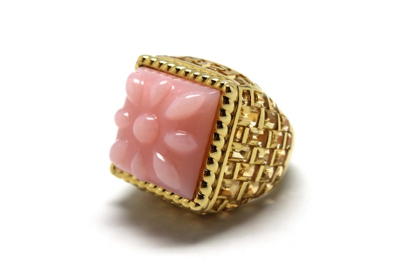 Stenmark - Basket Weave Pink Opal Ring - 14ct Yellow Gold.