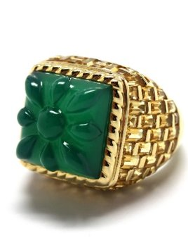 Stenmark - Mini Basket Weave Green Agate Ring - 14ct Yellow Gold.
