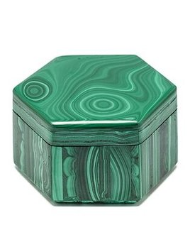 brothers antiques Malachite Box - Exquisite Hexaganol Carved Malachite Box - Single Slice of Malachite - D9.5cH6cm - Sourced in NYC