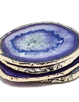 Set of 4 Large Purple Agate Coasters - Electroplated Gold - Brazil
