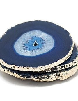 Set of 4 Large Blue Agate Coasters - Electroplated Silver - Brazil