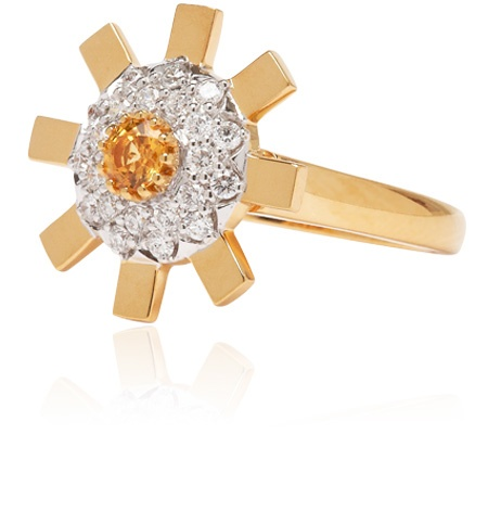 Stenmark - Sun Ray Ring with Diamonds and Yellow Sapphires - 18ct Yellow Gold - Small