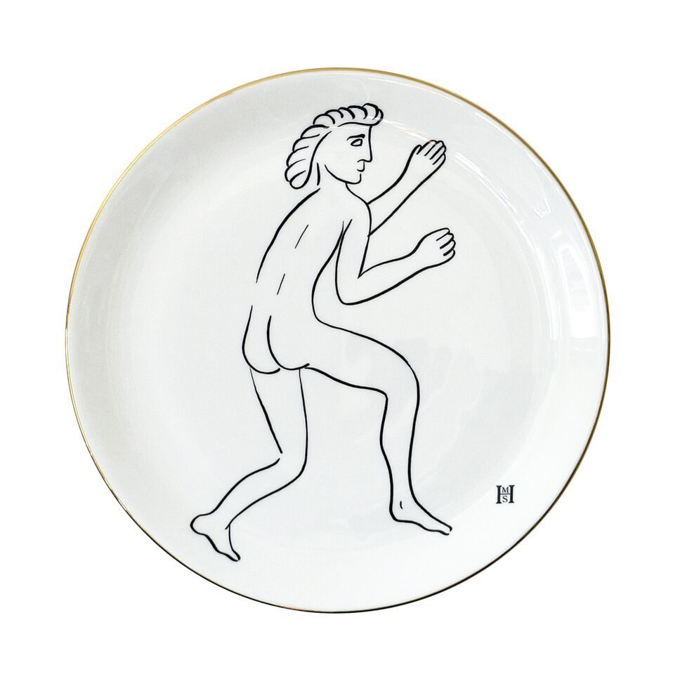 BECKER MINTY HMS Studio Plate - Roman Graffiti Plate - Running Man - D26.5cm