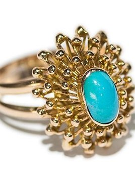 l&z estate jewellers Vintage Turquoise Starburst Dress Ring - 18ct Yellow Gold - c1970