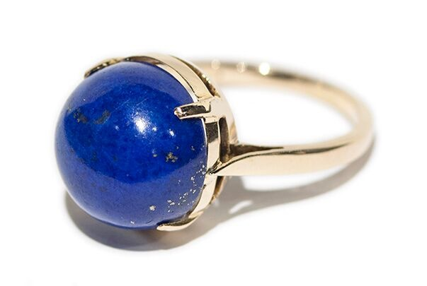 BECKER MINTY Vintage Round Sugar Loaf Lapis Ring - 14ct Yellow Gold - c1970