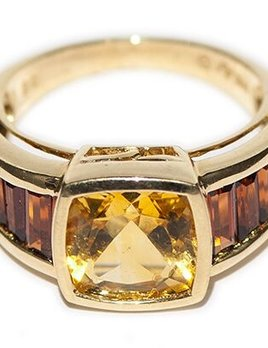 Eileen Kirkwood Vintage Yellow Citrine Dress Ring - 14ct Yellow Gold - Central cushion cut Yellow Citrine with 4 orange citrines on each side