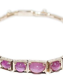 B.M.V.A. Antique 18ct Yellow Gold Star Ruby and Pink Sapphire Bracelet.