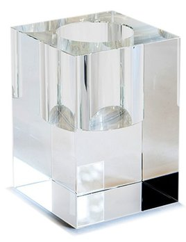 BECKER MINTY BECKER MINTY - Extra Large Cuboid Vase - Clear Crystal Glass - H20x14x14cm