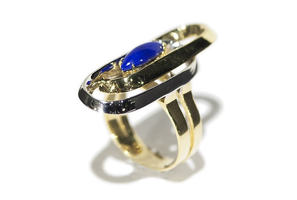 l&z estate jewellers Vintage Lapis Lazuli Dress Ring - 18ct Yellow and White Gold - c1970