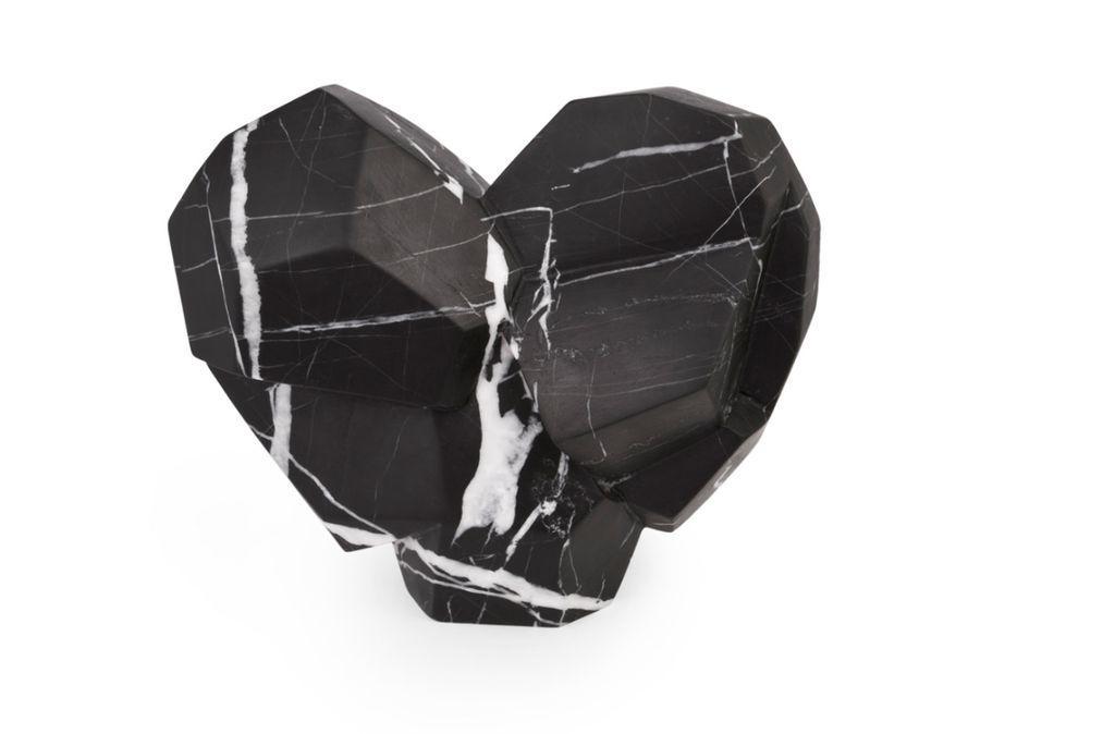 Kelly Wearstler Kelly Wearstler - Fractured Heart - Negro Marquina Marble - 19x9.5x15cm