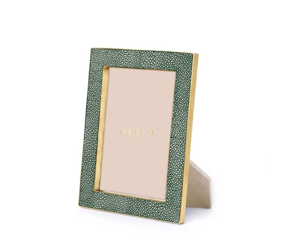 "Aerin AERIN - Classic Embossed Shagreen Frame - Emerald - 5x7"" - Dims 8.5""x6.5""x1.3"""