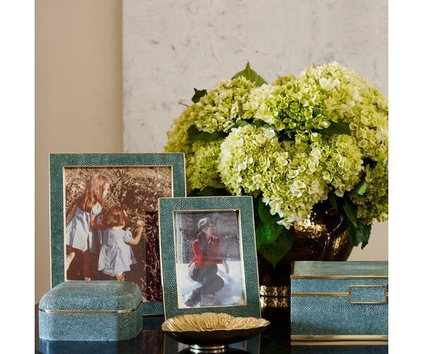 "Aerin AERIN - Classic Embossed Shagreen Frame -  Emerald - 4x6"""
