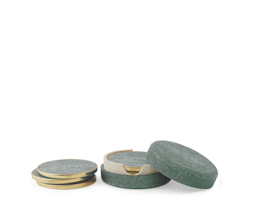Aerin AERIN - Emerald Embossed Shagreen Coaster Set