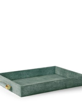 """Aerin AERIN - Classic Emerald Embossed Shagreen Serving Tray - 22.7"""" x 14.6"""" x 2.6"""""""