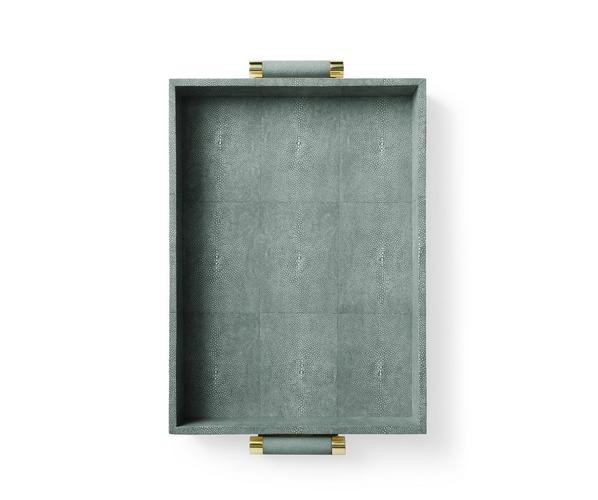 Aerin AERIN - Classic Embossed Shagreen Serving Tray - Emerald -<br />