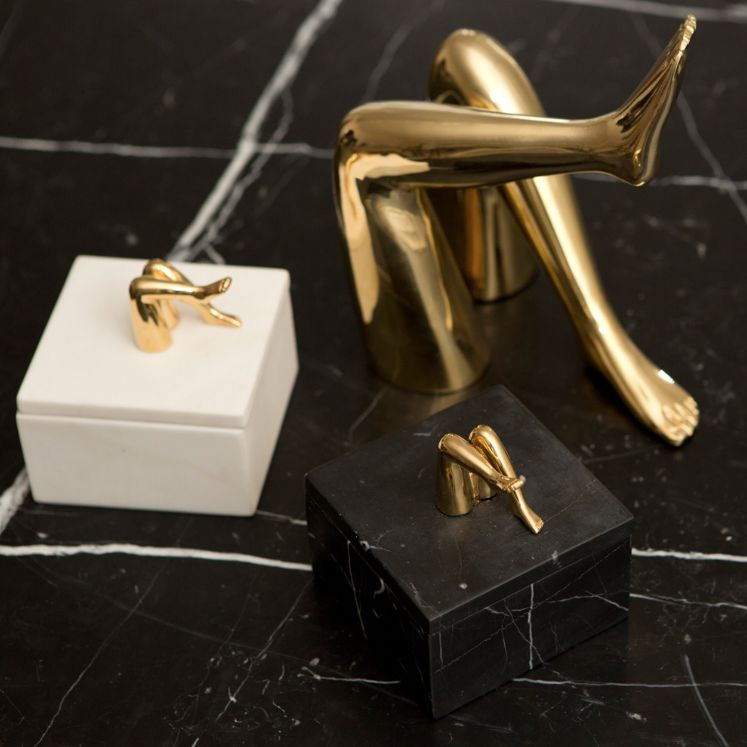 Kelly Wearstler Kelly Wearstler - Small Coquette Box  - White Calacatta Marble with Burnished Bronze