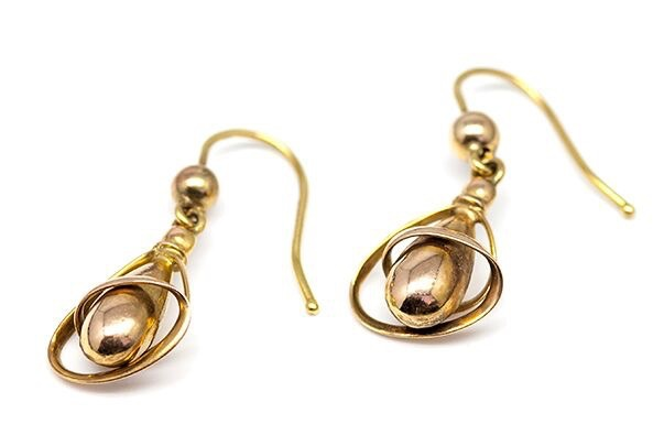 B.M.V.A. Antique Victorian Style Drop Earrings - Hollow Tear Drop with Gold Wire Casing 9ct Yellow Gold