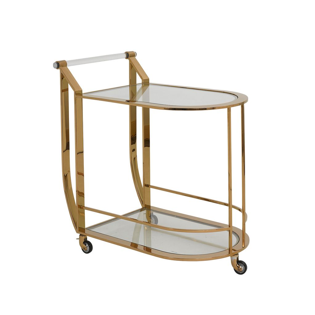 bloomingdales Idaho Drinks Trolley - Gold Finish - L77xW41xH80cm - (Height To shelf 75cm)