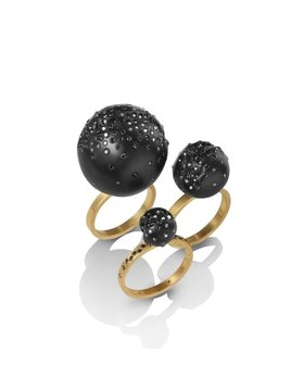 Jacqueline Cullen Jacqueline Cullen - Whitby Jet & Black Diamond 18ct Gold Sphere Ring.