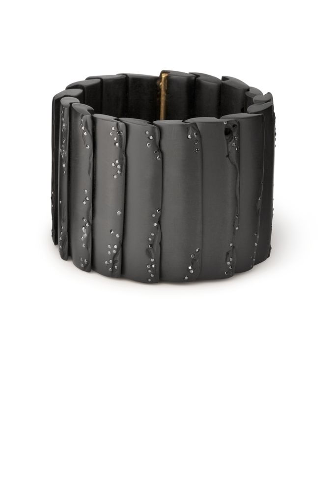 Jacqueline Cullen Jacqueline Cullen - Whitby Jet and Black Diamond Overlapping Cuff.