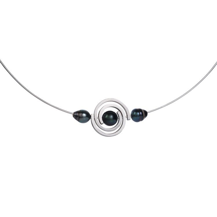 martha seely Martha Seely Design - Single Spiral Necklace with Tahitian Pearls - Platinum Silver