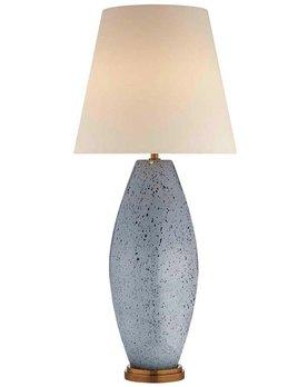 Kelly Wearstler Kelly Wearstler - Revello Table Lamp in Mottled Light Grey with Linen Shade