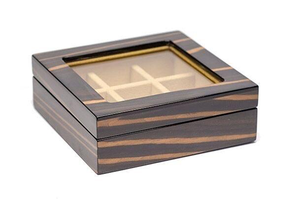 BECKER MINTY BECKER MINTY - Ebony Veneer Cufflink/Ring Box with Glass Lid.