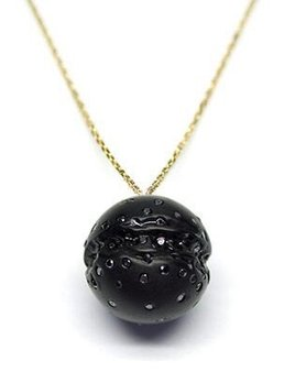 Jacqueline Cullen Jacqueline Cullen - Whitby Jet & Black Diamond 18ct Gold Sphere Necklace