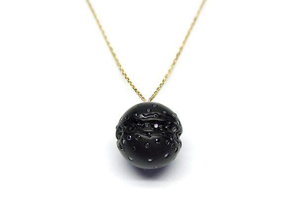 Jacqueline Cullen Jacqueline Cullen - Whitby Jet & Black Diamond 18ct Gold Sphere Necklace