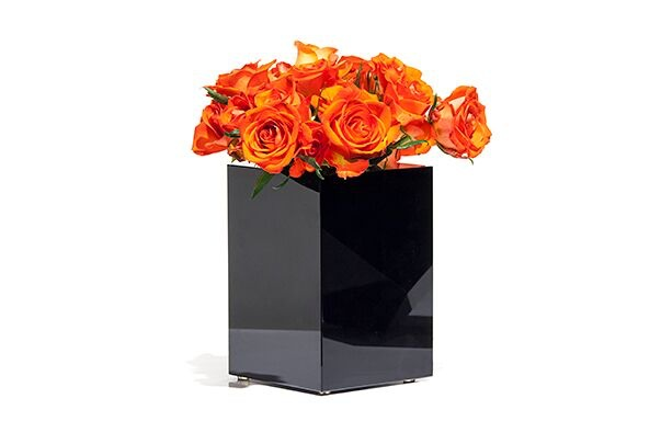 BECKER MINTY BECKER MINTY - Extra Large Cuboid Vase -  Dark Topaz Crystal Glass - H20x14x14cm