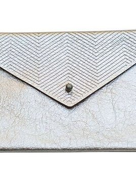 Molly M Designs Silver Foiled Leather Small Pouch with stud - Platinum - San Francisco