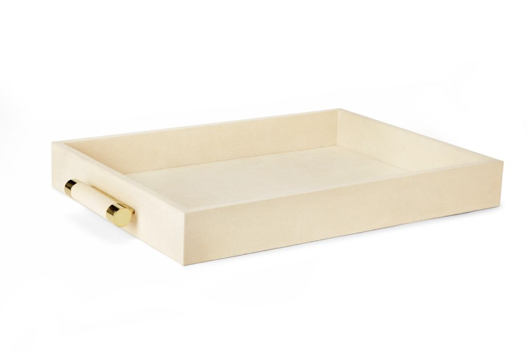 "Aerin AERIN - Classic Cream Embossed Shagreen Serving Tray - 28""l x 18""w x 3""h"
