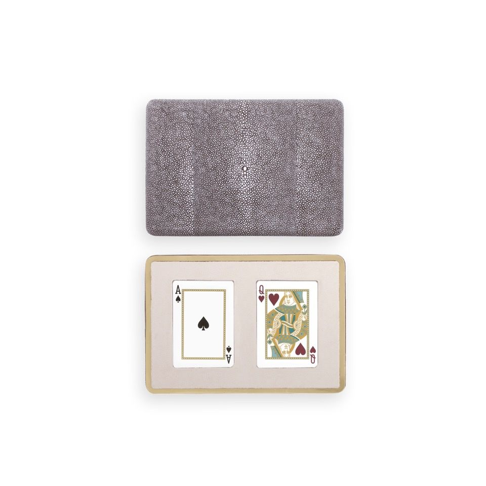 Aerin AERIN - Chocolate Embossed Shagreen Card Case / Box
