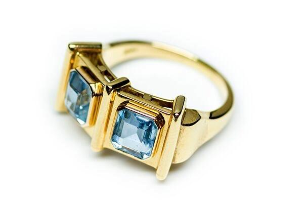 B.M.V.A. Retro 14ct Yellow Gold 2 Emerald Cut Aquamarine Dress Ring (Bezel Set) - Total 2.33ct - Circa 1940