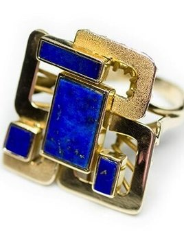Eileen Kirkwood Vintage 14ct Yellow Gold Lapis Lazuli Dress Ring. Retro 1970