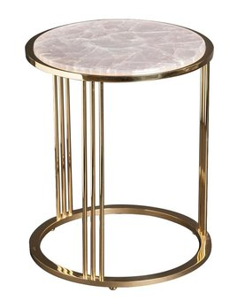 Giuliano Tincani Round side table of gilt brass with rose quartz  - H55xD44 cm