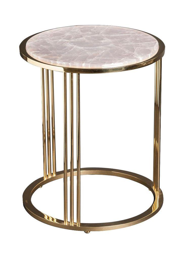 Giuliano Tincani Round side table of gilt brass with rose quartz  - H55xD44 cm