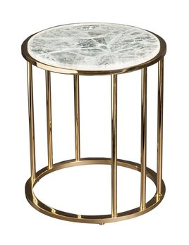 Giuliano Tincani Round side table of gilt brass with hyaline quartz  - H52xD44 cm