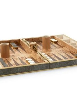 Aerin AERIN - Chocolate Embossed Shagreen Backgammon Set
