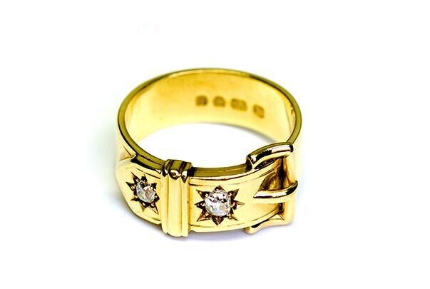 B.M.V.A. Antique Victorian 18ct Yellow Gold Diamond Buckle Ring.